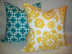 Turquoise & Yellow Pillow SetFREE SHIPPING20x20 by Graciespillows, $40.00