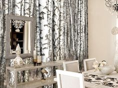 Dining Room with Tree Wall Mural