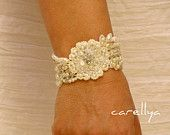 Beaded Pearls Bracelet  Vintage Lace Beaded Cuff -  Hand Embroidered  - DAFNA. $95.00, via Etsy.