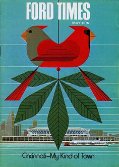 Charley Harper cardinals May 1976.  Ford Times cover design.  by art.crazed, via Flickr