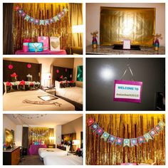 Hotel room bachelorette decorations. Pink, turquoise, gold, glitter theme Banner, ironing table with table cloth, wrapping paper covering TV and art