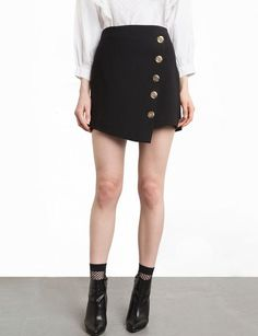 Richkoko Preppy Asymmetrical Button Summer Mini Skirt 2017 New Fashion Skirt Women Casual Solid Black High Waist Lady Skirts High Waisted Shorts Outfit, High Waisted Skirt, Waist Skirt, Midi Skirt, Casual Skirts, Casual Outfits, Short Skirts, Jupe Short, Short Women Fashion