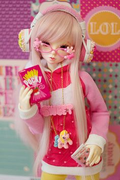 ✿• ' bjd ' ~ ' ball jointed doll ' •✿ decoden. . .headphones. . .glasses. . .colorful. . .pocky. . .miniature. . .cute. . .kawaii