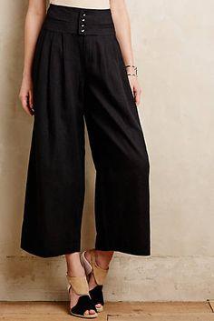 Linen Cummerbund Cropped Trousers