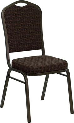 HERCULES Series Crown Back Stacking Banquet Chair with Brown Patterned Fabric and 2.5'' Thick Seat - Gold Vein Frame NG-C01-BROWN-GV-GG by Flash Furniture