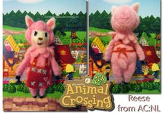 Needle felted Reese from Animal Crossing:  New Leaf