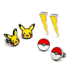 Don't wear your love for Pikachu on your sleeve - wear it on your ears! A set of three pairs of Pokémon stud earrings, including Pikachu faces, lightning bolts, and Poké Balls.
