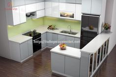 Thiết kế tủ bếp hiện đại chữ G nhà chị Chi XV093