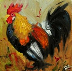 Drunken Cows - Whimsical Fine Art by Roz Rooster Painting, Rooster Art, Suffolk Sheep, Chicken Pictures, Chicken Art, Chickens And Roosters, Galo, Coq, Farm Yard