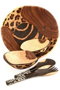 Wooden Safari Salad Bowls