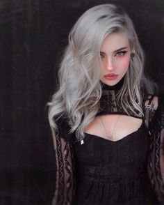 Silver Hair Girl, Long Silver Hair, Witch Fashion, Gothic Fashion, Fashion Beauty, Pastel Goth Hair, Human Poses, Gothic Models, Goth Beauty