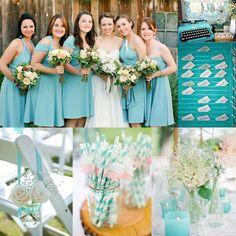 Teal und Aqua Blau Hochzeit Inspiration Brautkleider Tischdeko Einladungskarten 2014 Bright Color Outdoor Hochzeit im Sommer Inspiration