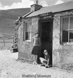 Two girls outside the Post Office, 1937