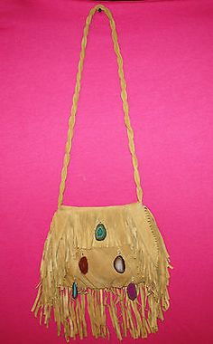 Ember Skye Kate Cross Body Braided Fringe Suede Purse with Agate Stones | eBay