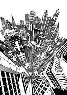 Fine line black ink hand drawn perspective cityscape illustration Art Tumblr, Brindille, City Sketch, Art Simple, Perspective Drawing, City Illustration, Black And White Illustration, Stencil Art, Architecture