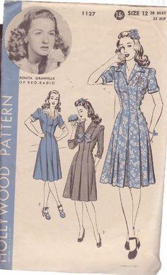 HOLLYWOOD VINTAGE PATTERN 1127, 1940'S 1 PC DRESS SIZE 12 BONITA GRANVILLE