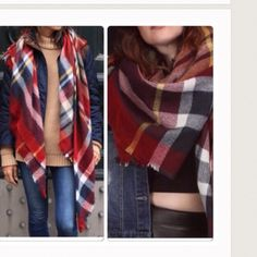 Plaid Burgundy Blanket Scarf NWOT tartan plaid blanket scarf also available in other colors . 59x59 soft 100% acrylic great quality 5 star rated . Vivacouture Accessories Scarves & Wraps