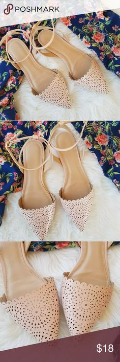 Old Navy Laser Cut D'Orsay Flats Old Navy Laser Cut D'Orsay Flats  Adjustable ankle strap Minor signs of wear, minor creasing and scuffing. Only worn twice  Gorgeous Blush color! Perfect for the season Old Navy Shoes Flats & Loafers
