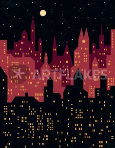 """Big City Night Lights"" Grafik/Illustration als Poster und Kunstdruck von Benjamin Bay bestellen. - ARTFLAKES.COM"