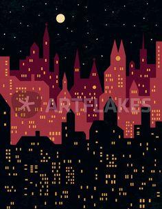 """""""Big City Night Lights"""" Grafik/Illustration als Poster und Kunstdruck von Benjamin Bay bestellen. - ARTFLAKES.COM"""