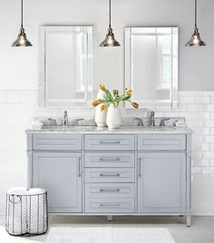 Cool, calm and collected. Our Aberdeen Double Vanity is perfect for that master bath remodel you've been planning. Refresh the look of your bathroom with a bath vanity that has beautiful style and plenty of storage. This double bath vanity features cerami Double Sink Bathroom, Small Bathroom Vanities, Bathroom Vanity Tops, Marble Vanity Tops, Vanity Sink, Master Bathroom, Marble Top, Bathroom Mirrors, Vanity Mirrors