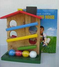 This toy includes a sturdy house with four chunky balls.  Children love to post the balls in the holes and watch as they roll and down the track.  Suitable for children from 2 years old.  Buy now from www.ilovewoodentoys.com.au