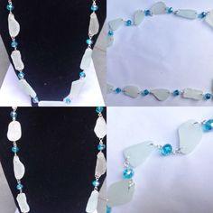#collana in #vetrodimare #naturale #bianco e #cristalli #azzurri. #fattaamano.  #seaglass #necklace in #white with #blue #crystals. #handmade.  #collar en #vidriodemar #natural y #blanco con #cristales #azules. #hechaamano.  www.oro18.eu info@oro18.eu