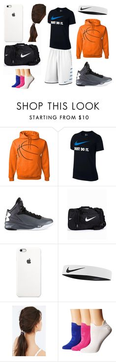 """""""Going to basketball practice"""" by zainabazzari ❤ liked on Polyvore featuring NIKE, Under Armour, JEM, Hue, women's clothing, women, female, woman, misses and juniors"""