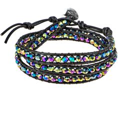 Aeravida Rainbow Muse Fashion Crystal Tribal Wrap Leather Bracelet ($32) ❤ liked on Polyvore featuring jewelry, bracelets, rainbow, wrap bracelet, wrap jewelry, crystal jewellery, crystal wrap bracelet and leather bangles