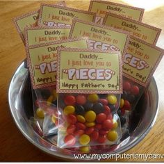 Made this for Father's Day this year...super easy and cute. My husband actually loves Reeses Pieces so this was a no breainer. I actually just stapled the quote on the candy bag....so it was even easier.