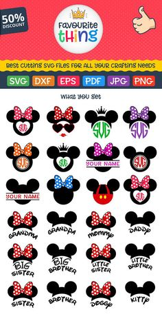 DISNEY Svg Disney Files Svg Disney Bundle Svg Mickey & Minnie Ears Disney font, Monograms, Cricut cut file, Silhouette Dxf Eps Png Clip art – My WordPress Website Minnie Y Mickey Mouse, Mickey Ears, Cricut Ideas, Foto Transfer, Cricut Air, Silhouette Cameo Projects, Disney Crafts, Disney Tattoos, Disney Trips