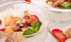 Receta de Panacota con macedonia de frutas