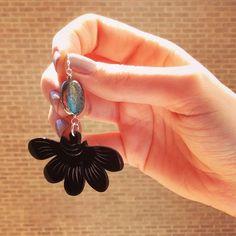 $50 Earrings Silver Pyrite & Black Flower Horn. www.meredithjackson.com
