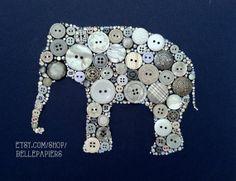 11x14 Elephant Button Art & Swarovski Art Elephant Silhouette Baby Shower Gift Nursery Decor