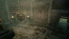 The Dawnstar Sanctuary interior from TES Skyrim Elder Scrolls Lore, Elder Scrolls Skyrim, Tes Skyrim, Snow White Queen, Dark Brotherhood, Fantasy Map, Black Doors, Stained Glass Windows, The Darkest