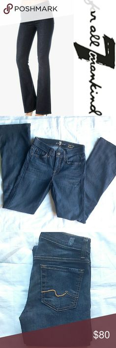 """NWOT Mid Rise Bootcut Jeans """"The Mid Rise Bootcut is our original fit with a higher rise. This specific style and wash is so well-loved that we've made it a year-round in-stock staple. We use rich indigo dyes to ensure the best color, which may wear off, so please take extra care around lighter items"""" Mid Rise Comfortable Through Hip and Thigh Breaks at Knee Classic Bootcut Leg Opening 31"""" inseam.  Brand new, never worn. 7 For All Mankind Jeans Boot Cut"""