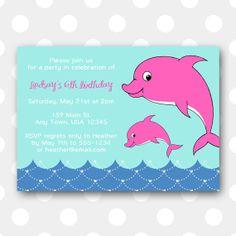 Printable Birthday Party Invitation Pink By Inglishdigidesign 1000 Dolphin Puppy