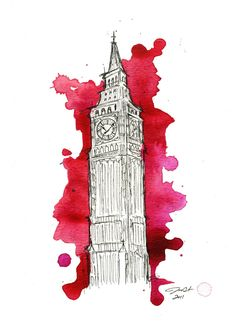 Watercolor and Pen Big Ben Travel Illustration - Let's Get out of this Country print. $22.00, via Etsy.