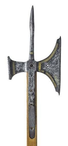 Pollaxe, North European, probably English, 1450-1500 The pollaxe was a two-handed infantry weapon designed to hack, crush and pierce armour plates as well as flesh and bone. The pollaxe head was made up of three parts, an axe-blade, rear hammer-head, and a top-spike.