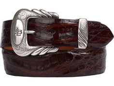 Lucchese exotic belt made with crocodile leather. This men's leather belt was adorned with a Western buckle, making it unique. Faux Leather Belts, Leather Men, Western Belts, Leather Accessories, Crocodile, Belt Buckles, Men's Belts, Bolo Tie, Man Stuff