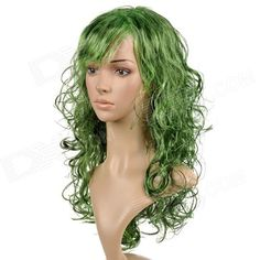 Brand: N/A; Color: Green; Material: Kanekalon fiber; Quantity: 1; Functions: Ornament, cosplay; Hair Grade: Remy Hair; Virgin Hair: No; Lace wig type: Full Lace Wig; Style: Curly; Length: 55 cm; Compatible Circumference: 60~80 cm; Features: Change your looks instantly; Good ventilation, no damage to your own hair; wash the wig gently, dry it in shade place; do not dry it with hair dryer or in the sun; Packing List: 1 x Wig; http://j.mp/1ljNQjI