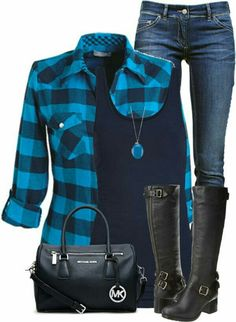 Casual Blue Plaid Shirt Fall Outfit - Fall Shirts - Ideas of Fall Shirts - I adore every single piece. The blue plaid button up the black tank the jeans the blue necklace the black boots. Komplette Outfits, Casual Outfits, Fashion Outfits, Woman Outfits, Weird Outfits, Fashion 2018, Plaid Outfits, Grunge Outfits, Flannel Shirt Outfit