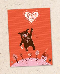 super adorable valentines card with bear illustration by Tabula Rosi