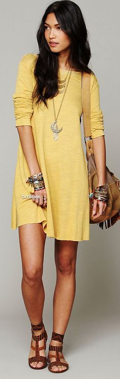 FP Long Sleeve Swing Dress. I have a definite obsession with yellow dresses.