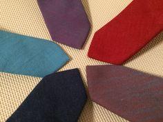 Denim slim ties for women and men. Red, purple, indigo and more colors.