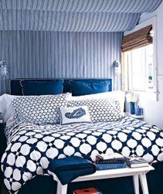 Soothing blue bedroom.