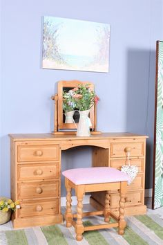 SOLID PINE DRESSING TABLE MIRROR & STOOL