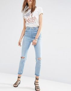 Image 1 ofASOS FARLEIGH High Waist Slim Mom Jeans In Sweet Mid Stonewash with Busted Knees