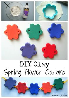 Mix PVA glue and cornflour together to create DIY clay. Use the clay to make a spring flower garland. Craft Projects For Kids, Easy Crafts For Kids, Craft Activities For Kids, Diy For Kids, Diy Projects, Craft Ideas, 4 Kids, Handmade Birthday Gifts, Classroom Crafts