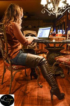Thigh boots sweater jeans outfit